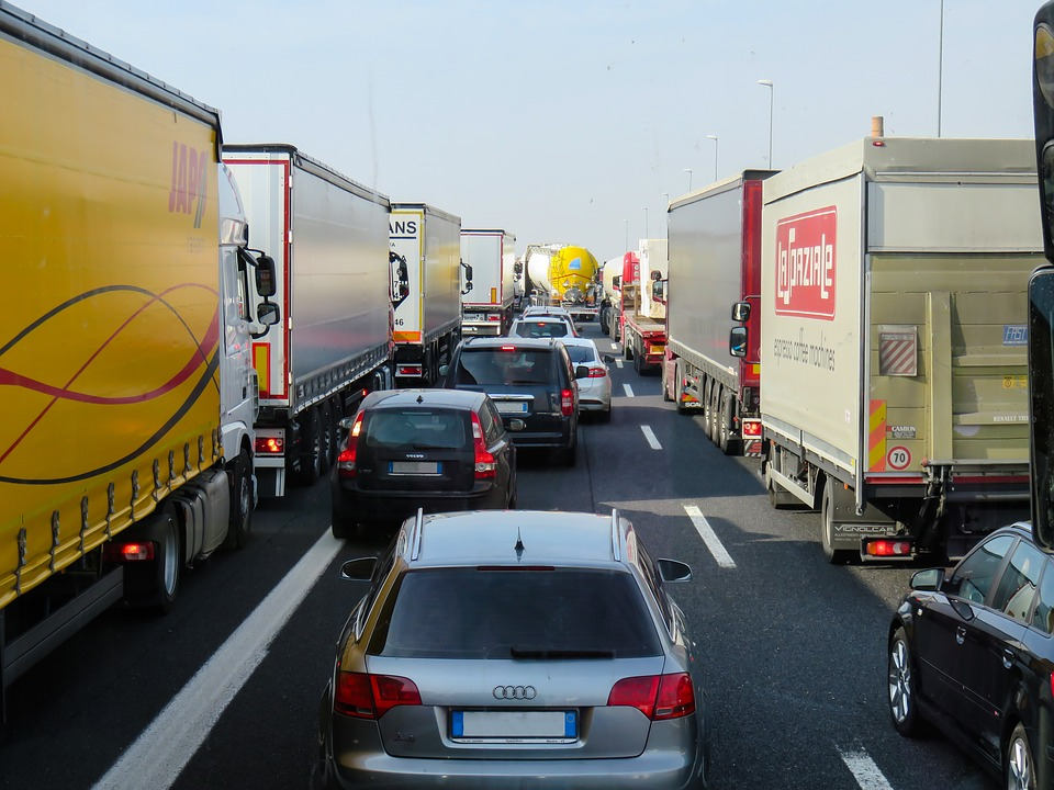 Highway Vehicles Transport Auto Truck Traffic Jam